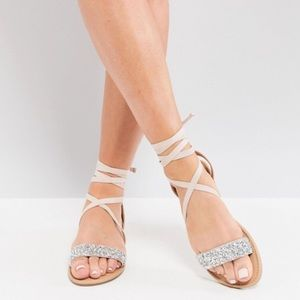 ASOS Fi embellished flat lace up sandals